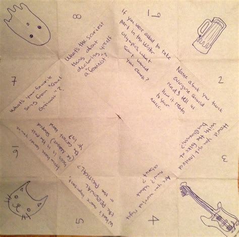 what to write in a paper chatterbox cootie catcher quotes