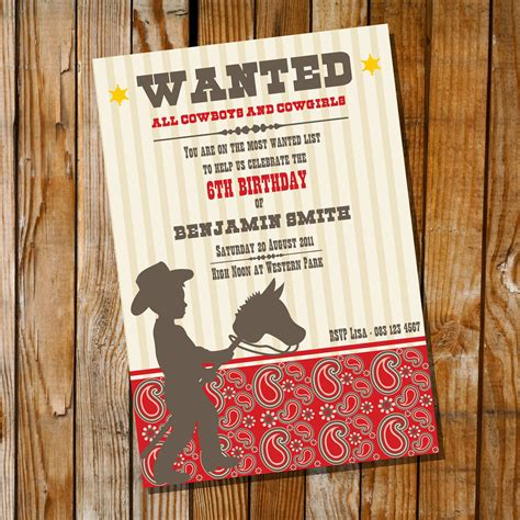 cowboy birthday invitation only instantly by