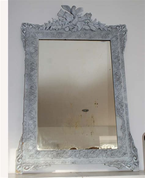 antique french mirror distressed shabby chic grey painted