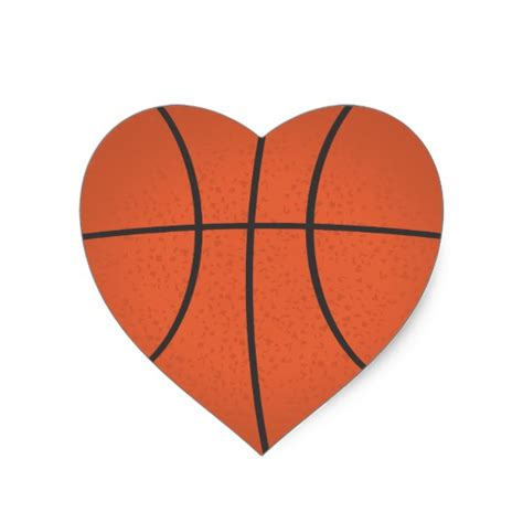 heart shaped basketball sticker zazzle com