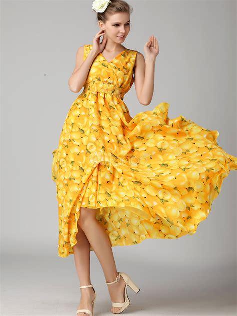 womens multi layered leaf pattern v neck split design dress milanoo