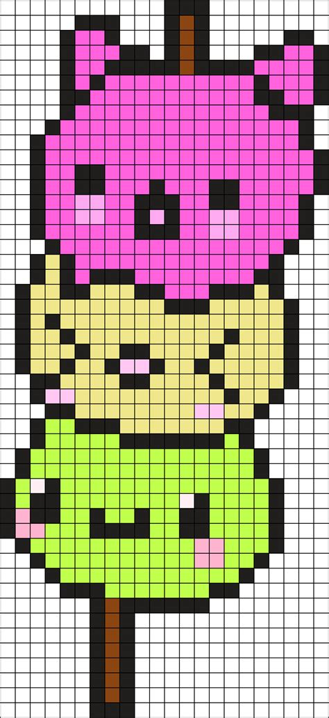 Kawaii Dango Perler Bead Pattern   Bead Sprites   Food