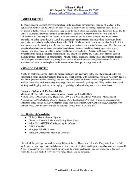 Resume Employment History by William A Ward Research Summary Of Employment History