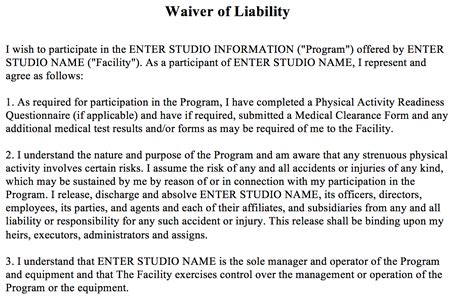 Waiver Of Liability The Association Of Fitness Studios Fitness Liability Waiver Template