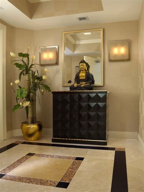 buddha inspired bedroom decorate with buddha statues and representations