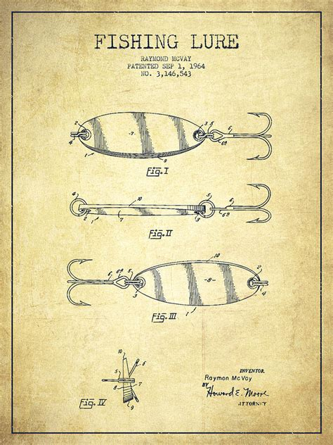 Curtain Rod Cover Vintage Fishing Lure Patent Drawing From 1964 Drawing By