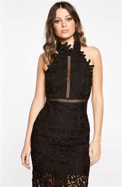 bardot gemma halter lace sheath dress black modesens