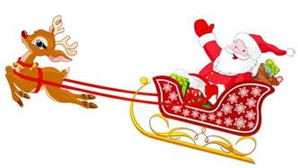 santa and reindeer with sled png clipart gallery