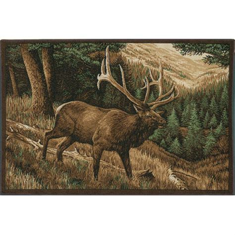 elk rugs for sale custom printed rugs 37x52 quot elk roaming the high country rug 216648 rugs at sportsman s guide