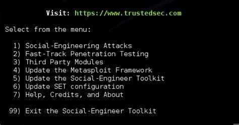 social engineering toolkit tutorial kali linux security g33k set social engineering toolkit on kali