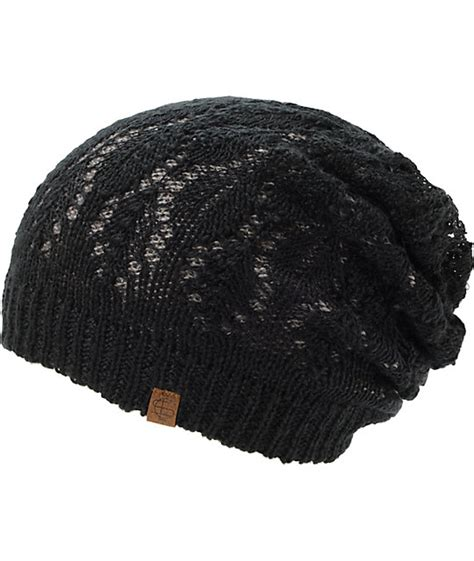 Lace Beanie empyre noble grey black lace reversible beanie