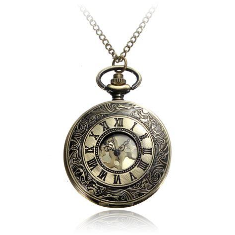 Pocket Necklace vintage bronze numerals steunk quartz necklace