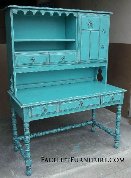 Distressed Desk With Hutch Turquoise Refinished Furniture Facelift Furniture