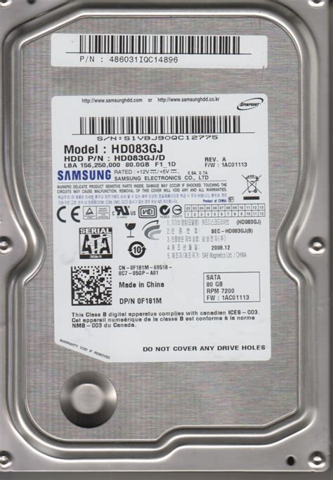Hardisk 80gb Second disk 80gb samsung hd083gj sata