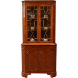 Vintage Corner Curio Cabinet Vintage Corner Curio Display China Cabinet Yew Wood