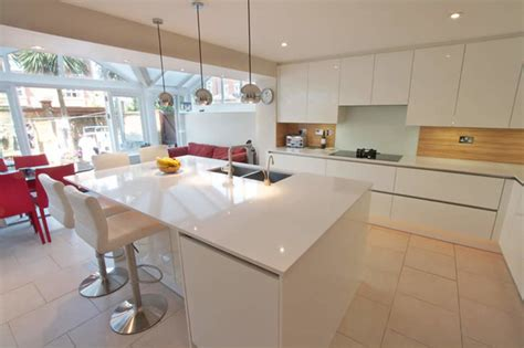 white gloss kitchen island modern kitchen