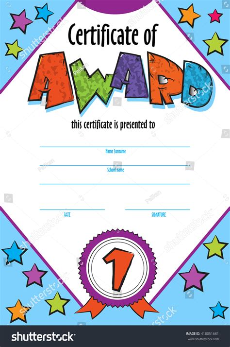 Template Child Certificate Be Awarded Kindergarten Stock Vector 418051681 Shutterstock Design Contest Template