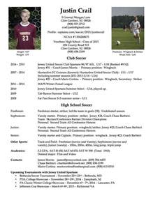 athletic resume template free college soccer player resume soccer