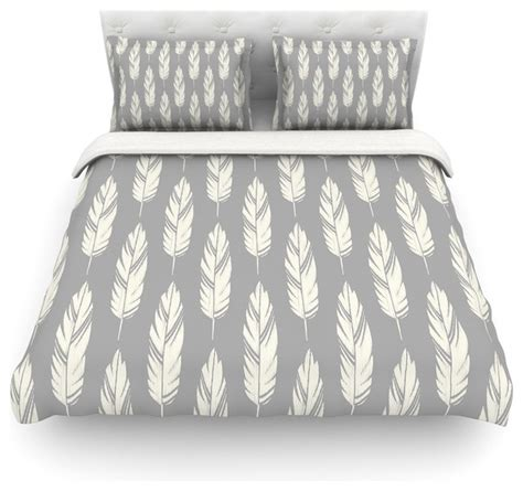 Grey Pattern Duvet Cover | amanda lane quot feathers gray cream quot grey pattern duvet cover