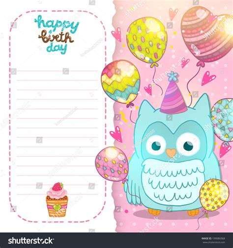 greeting card template with cute owl vector free download happy birthday card background with cute cartoon owl