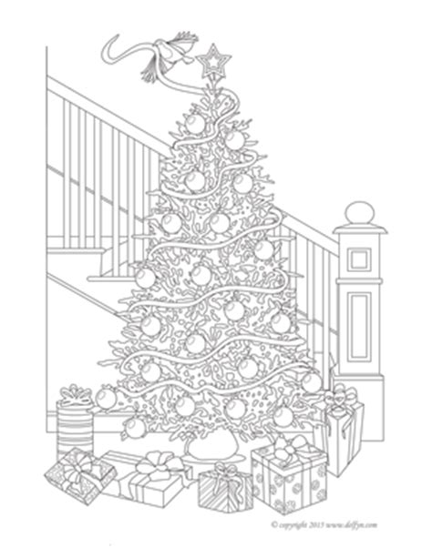 christmas tree coloring page for adults free printable adult coloring pages delfyn studios