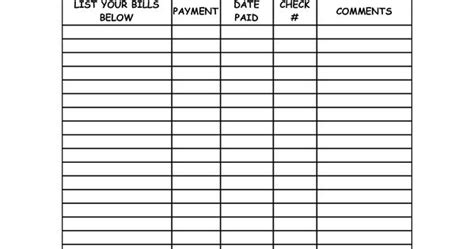blank bill payment organizer monthly bill summary  cats pinterest summary bill