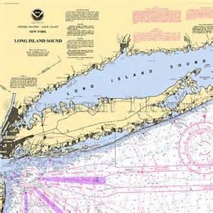 New york long island sound nautical chart decor