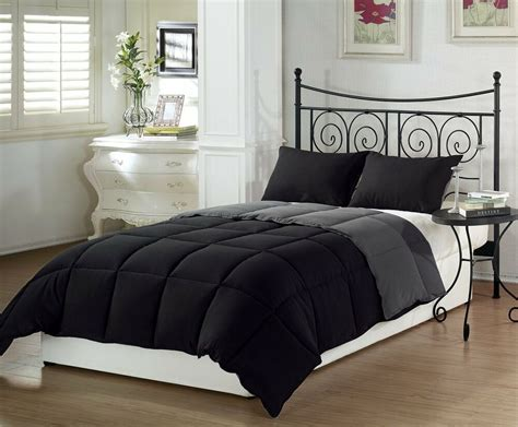 black reversible  piece comforter set fullqueen king