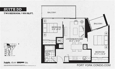 650 sq ft floor plan 2 bedroom garrison point condos preconstruction fort york condo