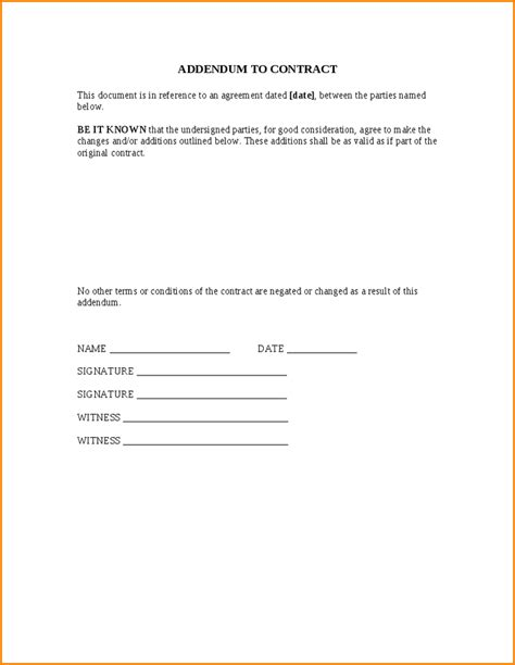 addendum template sle lease addendum agreement lease addendum agreement