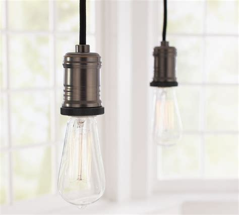 Pendant Lights For Track Fixtures Exposed Bulb Pendant Track Lighting Contemporary Track Heads And Pendants By Pottery Barn