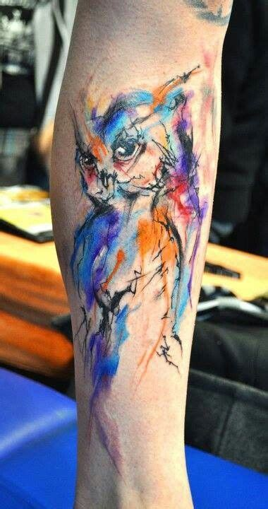 owl tattoo in color water color owl arm tattoo inkibles pinterest colors