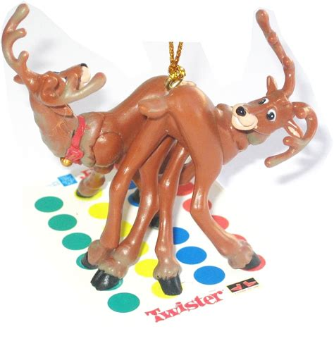 christmas tree ornaments reindeer twister ornament