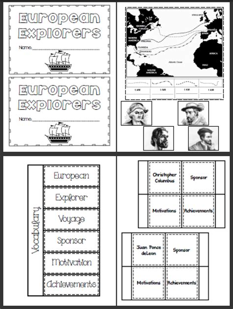 Explorers Worksheets by The Teaching Oasis Explorer S Lapbook