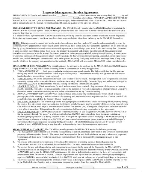 Property Manager Contract Sle by Sle Property Contract Agreement 8 Exles In Word Pdf