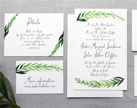 how to calligraphy wedding invitations diy printable diy wedding invitation handpainted watercolor leaves with calligraphy 2492927