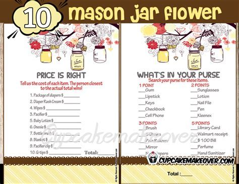 Mason Jar Baby Shower Games Yellow ? INSTANT DOWNLOAD   Cupcakemakeover