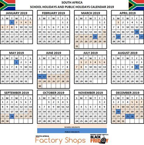 schools holidays terms calendar south africa