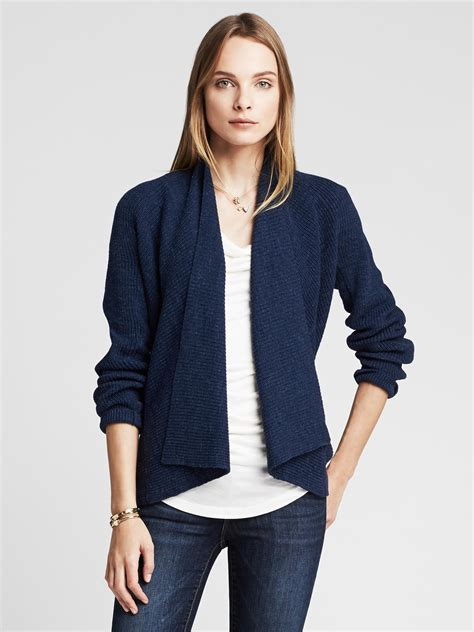 draped cardigans banana republic draped blue open cardigan in blue lyst