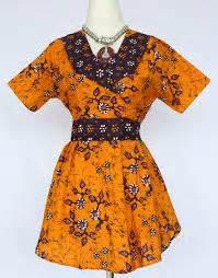 Dress Batik Tulis Kuning 01 baju kerja batik model baju kerja batik modern terbaru