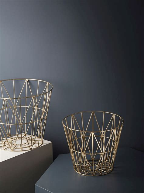 wire basket in brass medium ferm living fast delivery
