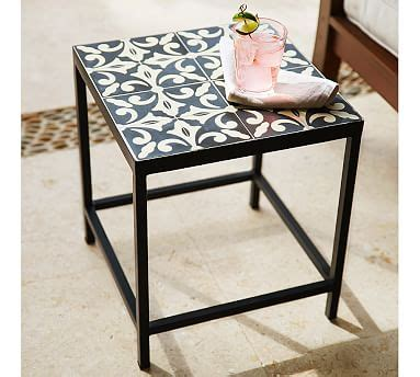 Pottery Barn Patio Table Square Tile Side Table Pottery Barn