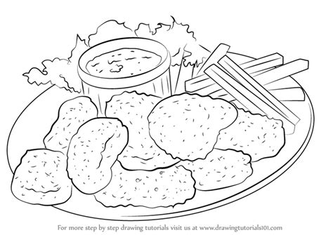 coloring pages chicken nuggets drawn chicken chicken nugget pencil and in color drawn