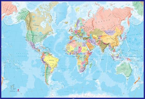 map of the world world map mural blue by maps international