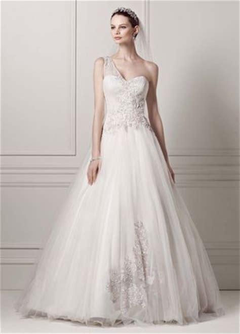 One Set 421 oleg cassini one shoulder tulle wedding dress david s bridal
