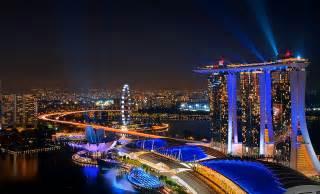 Christmas Laser Light Marina Bay Sands Skyscraper In Singapore Thousand Wonders