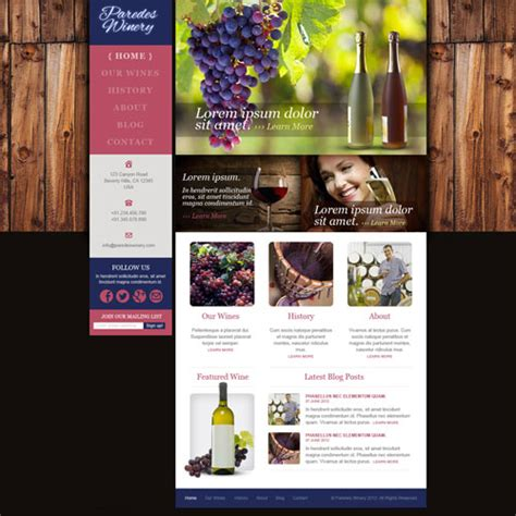 Paredes Winery Website Template Free Website Templates Free Wine Website Templates