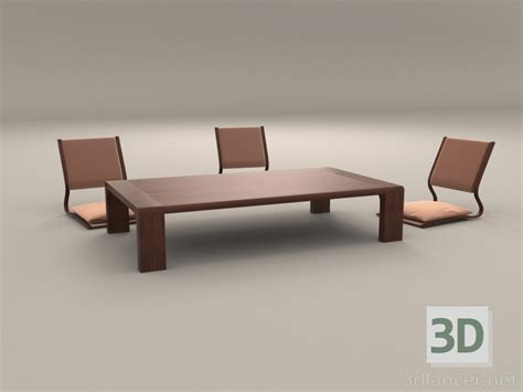 japan furniture japanese 3d model 3d model japanese low table and chairs 3dlancer net