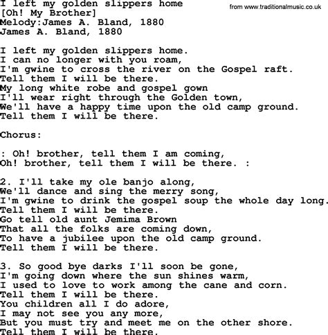song golden slippers american song lyrics for i left my golden slippers