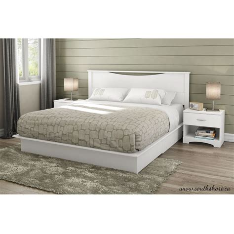 King Size Platform Bed With Drawers King Size Modern Platform Bed With Storage Drawers In White Finish Ebay